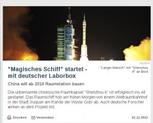 """Screenshot des Artikels """"Magisches Schiff"""" startet - mit deutscher Laborbox"""