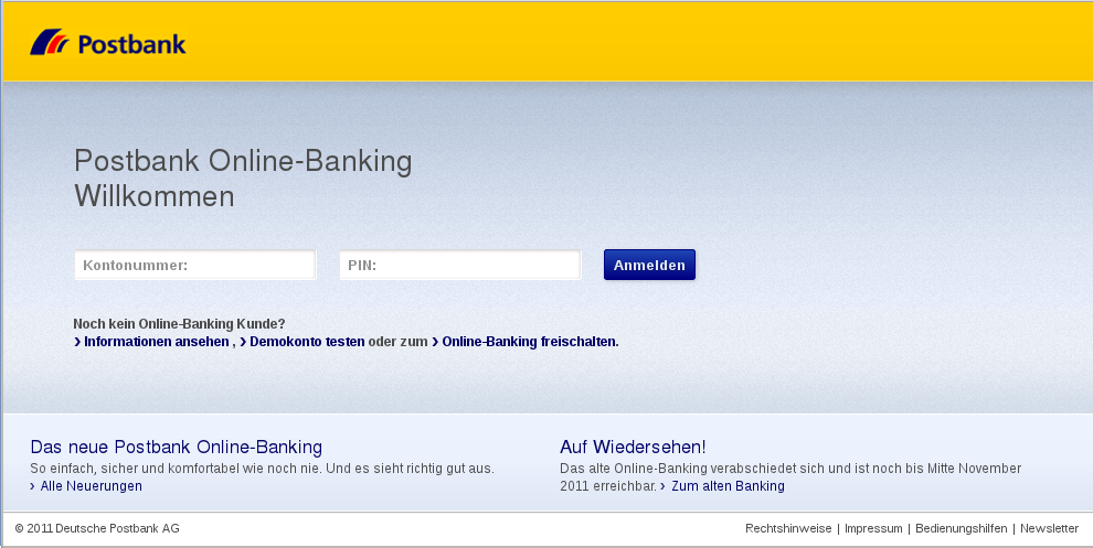 Poostbank Fraud E-Mail Screenshot der Phishing Seite
