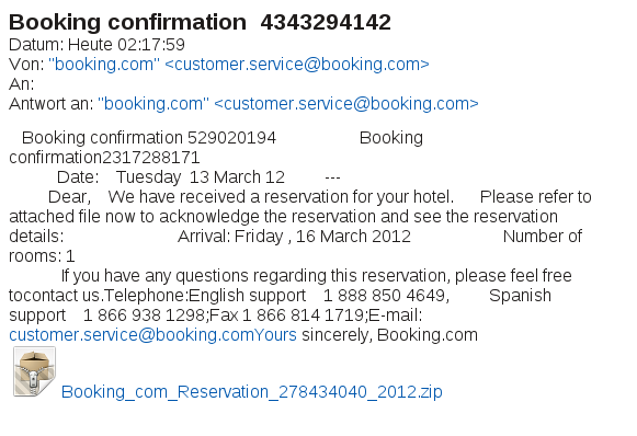 Screen shot of booking confirmation message