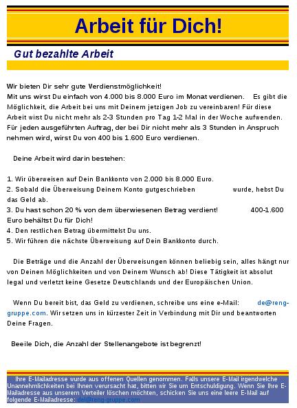 Screen Shot Spam, Mail - Betreff: Arbeit für Dich