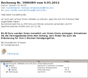 Screenshot der Fraud Mail