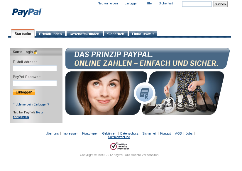 Screen Shot der angeblichen Paypal Web Seite