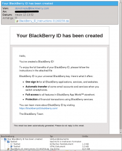 BlackBerry ID created