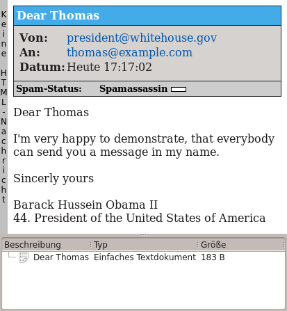 Fake Mail from Barack Obama