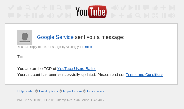 Google Service has sent you a message: Welcome to the TOP of YouTube Users Rating
