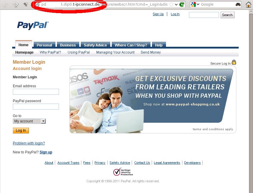 Screen Shot der gefälschten Seite