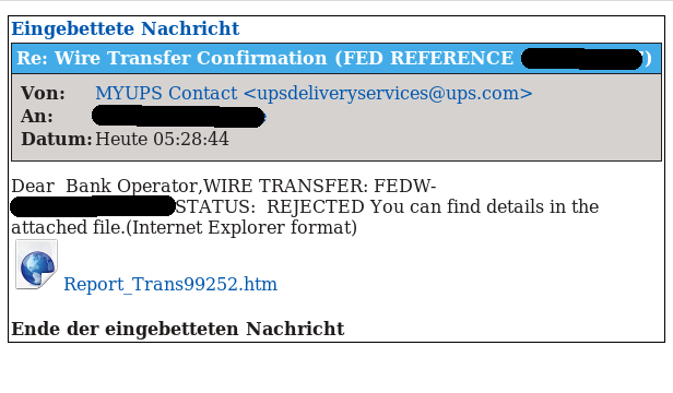 Re: Wire Transfer Confirmation (FED REFERENCE xxxxx)