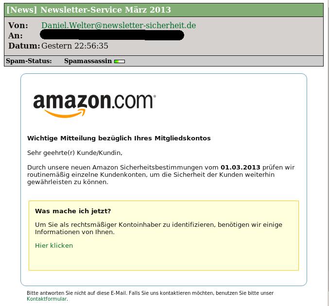 Angebliche Amazon Kundenbetreuungsmail