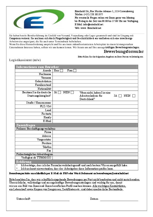 Bewerbungsformular Enterhold SA