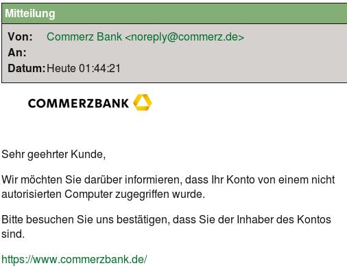 Angebliche Mitteilung der Commerzbank