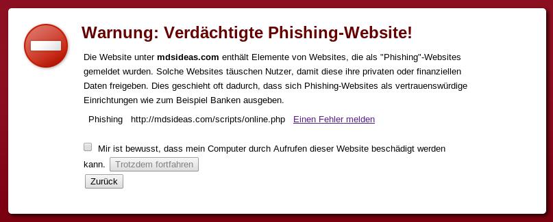 Warnung vor der Pishing Seite mdsideas.com.