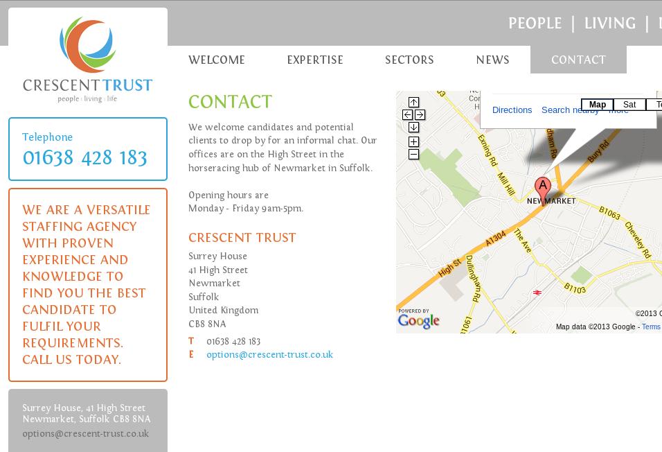Screen Shot der Kontaktseite des echten Auftritts