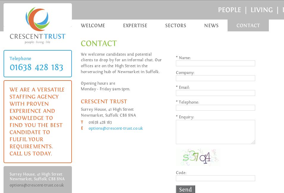 Screen Shot der gefälschten Kontaktseite