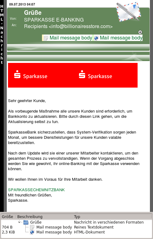Screen Shot der E-Mail