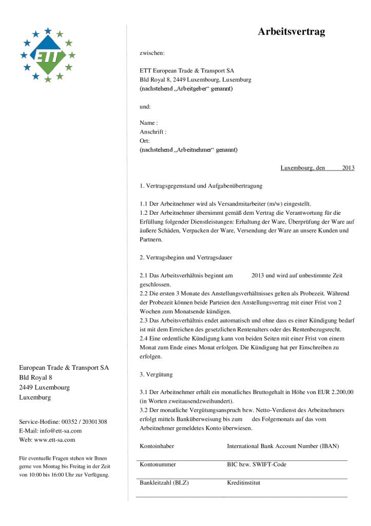 Arbeitsvertrag Seite 1