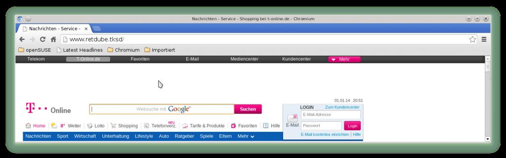 T-Online über Proxy retdube.tksd aufgerufen. Beachte die Adressleiste!