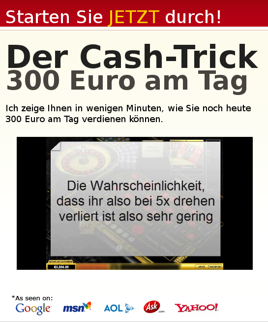 Martingale Spiel als Casino-Trick