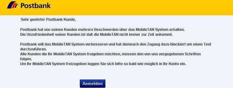 SPAM: Achtung – Kontoprobleme (Postbank)