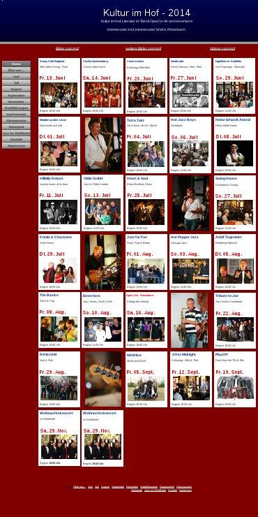 Neue Homepage Kultur im Hof 2014
