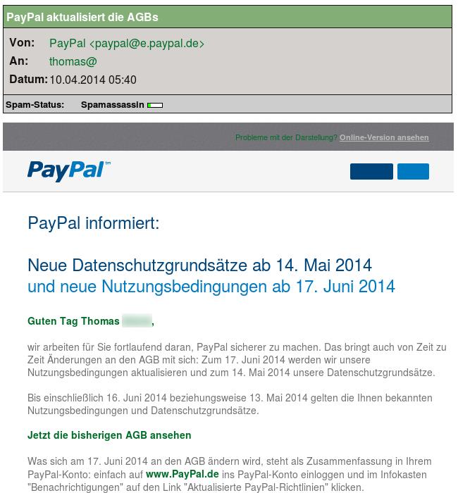 PayPal aktualisiert die AGB