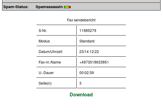 Angeblicher Fax- Sendebericht (Screenshot)