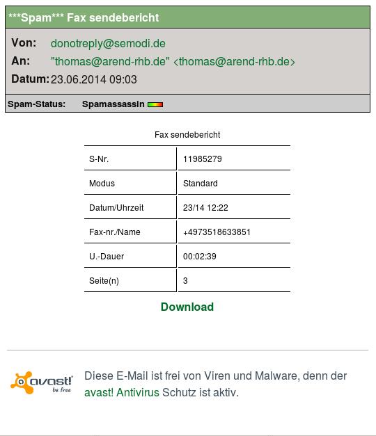 Angeblicher Fax- Sendebericht (Screenshot)