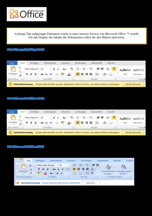 Erste Seite des MS-Word Trojaners