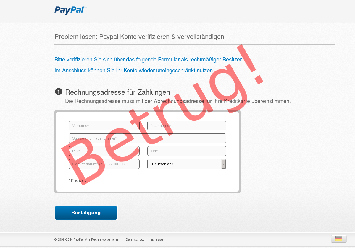 Paypal Betrugsversuch