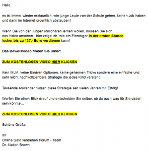 Der Swiss Report: Bild in der Spam-Mail