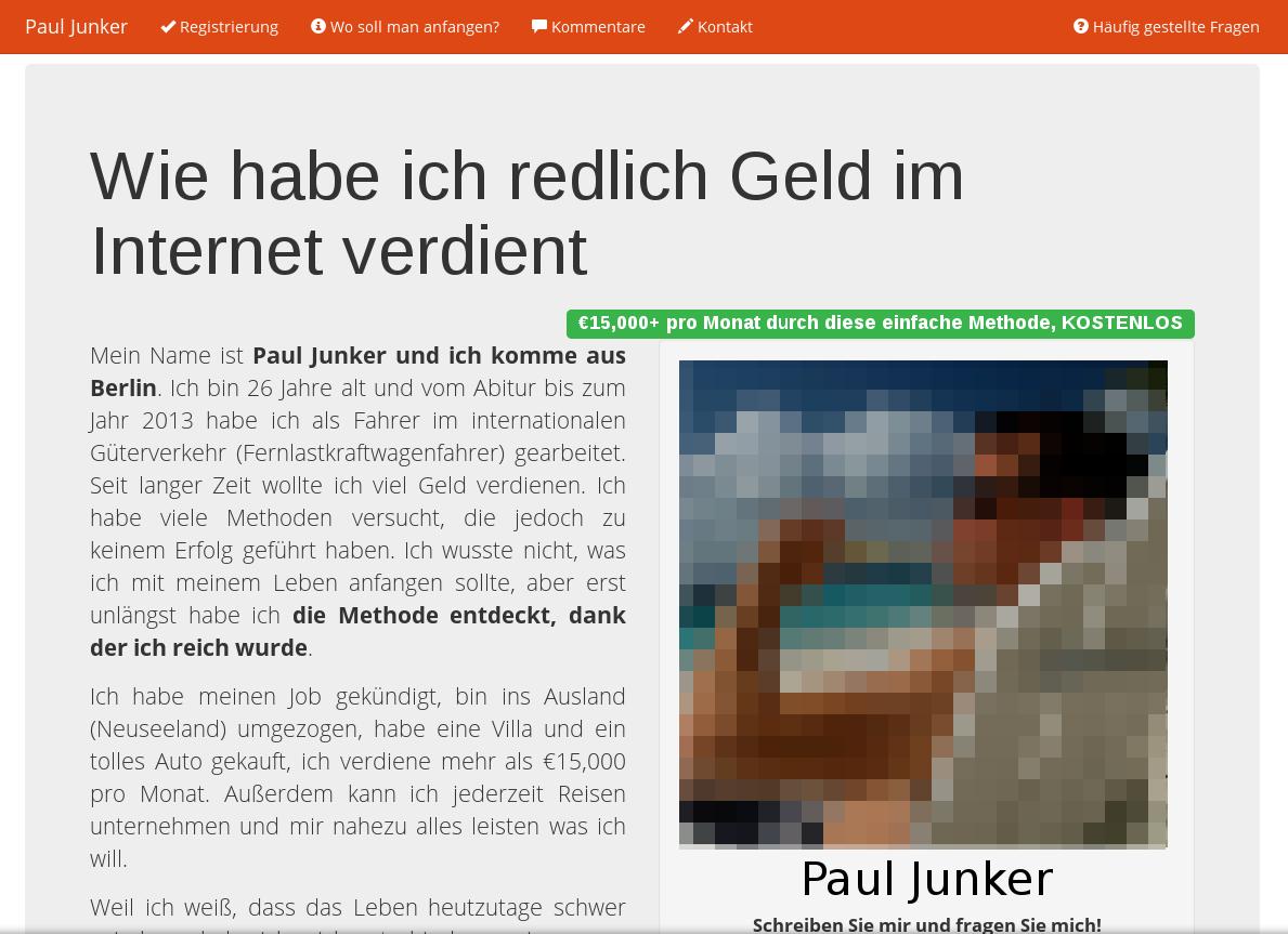 Screenshot der Web-Seite pauljunker.com