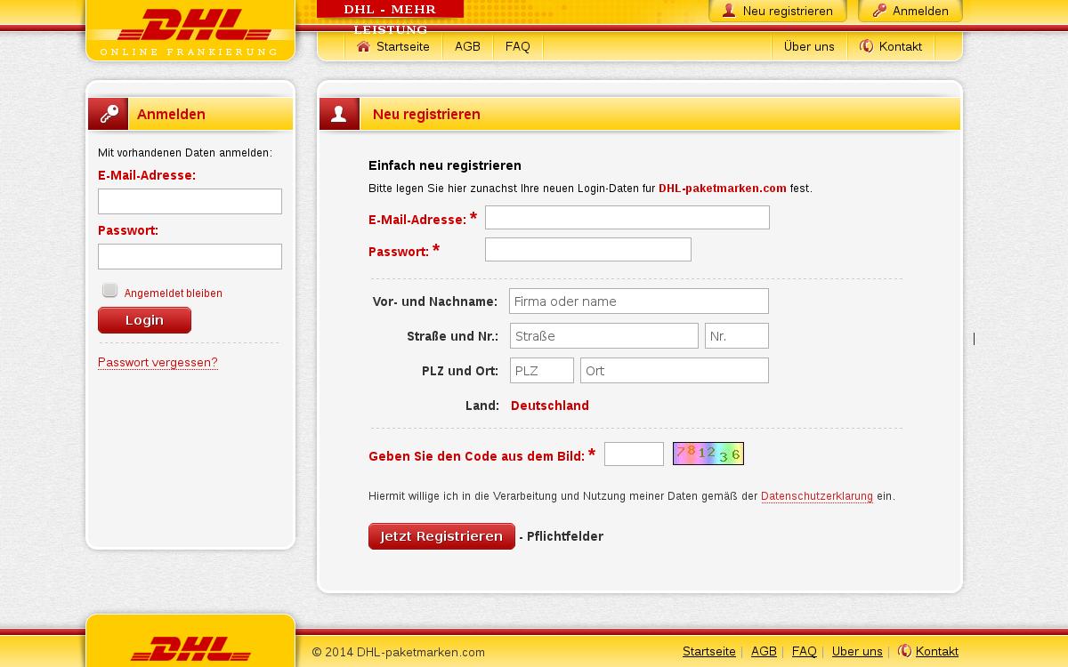 Startseite der DHL Paketmarken