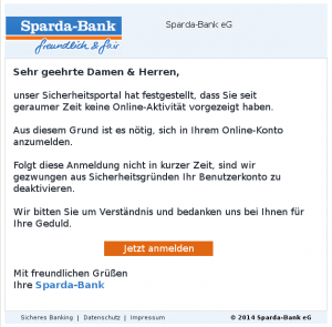 Sparda-Bank Phishing E-Mail