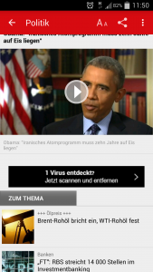 Screenshot der Focus Online App