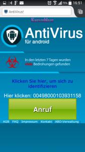 Web-Seite zum Anruf der Nummer 00498000103932401