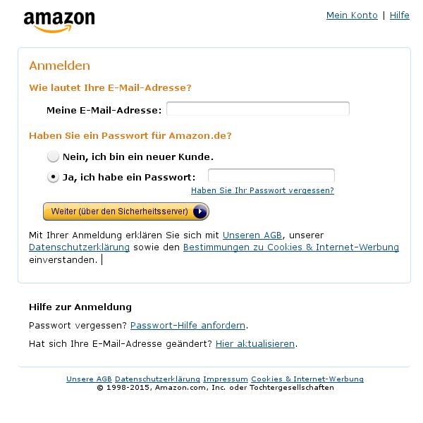 Gefälschte Amazon-Anmeldung