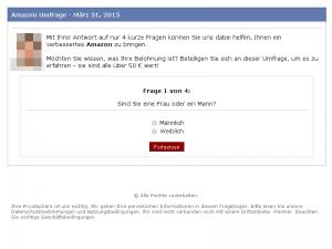 Frage 1 der gefälschten Amazon Umfrage