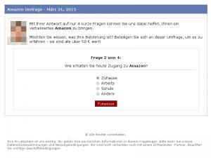 Frage 2 der gefälschten Amazon Umfrage