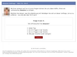 Frage 3 der gefälschten Amazon Umfrage