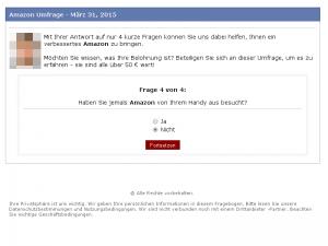 Frage 4 der gefälschten Amazon Umfrage