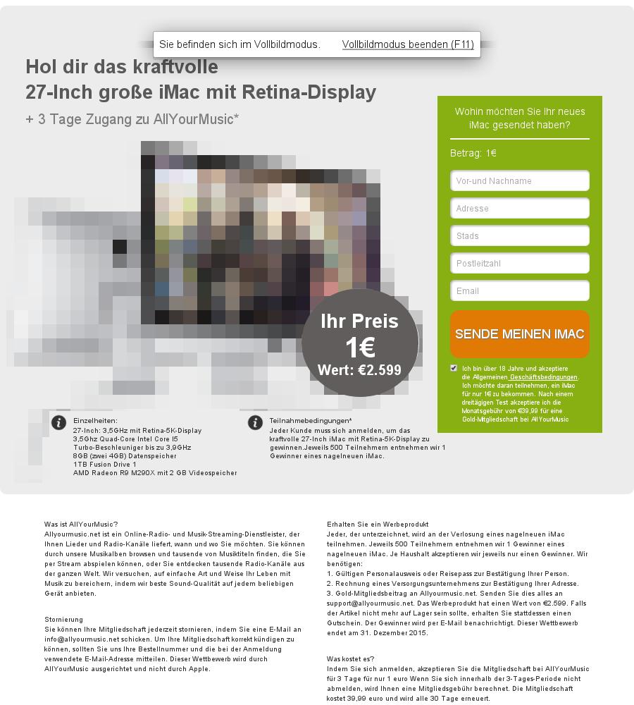 allyourmusic.net: Werbegeschenke iMac