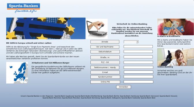 Sparda Bank Phishing Seite