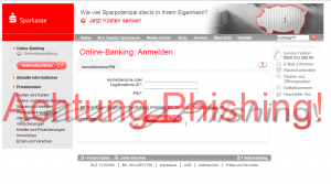 Sparkasse Phishing mit Login -eite