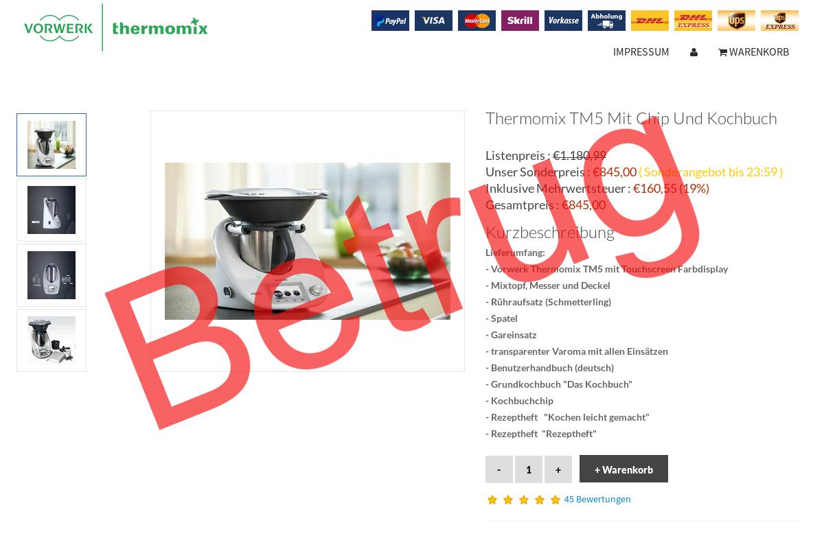 Betrugsseite Thermomix
