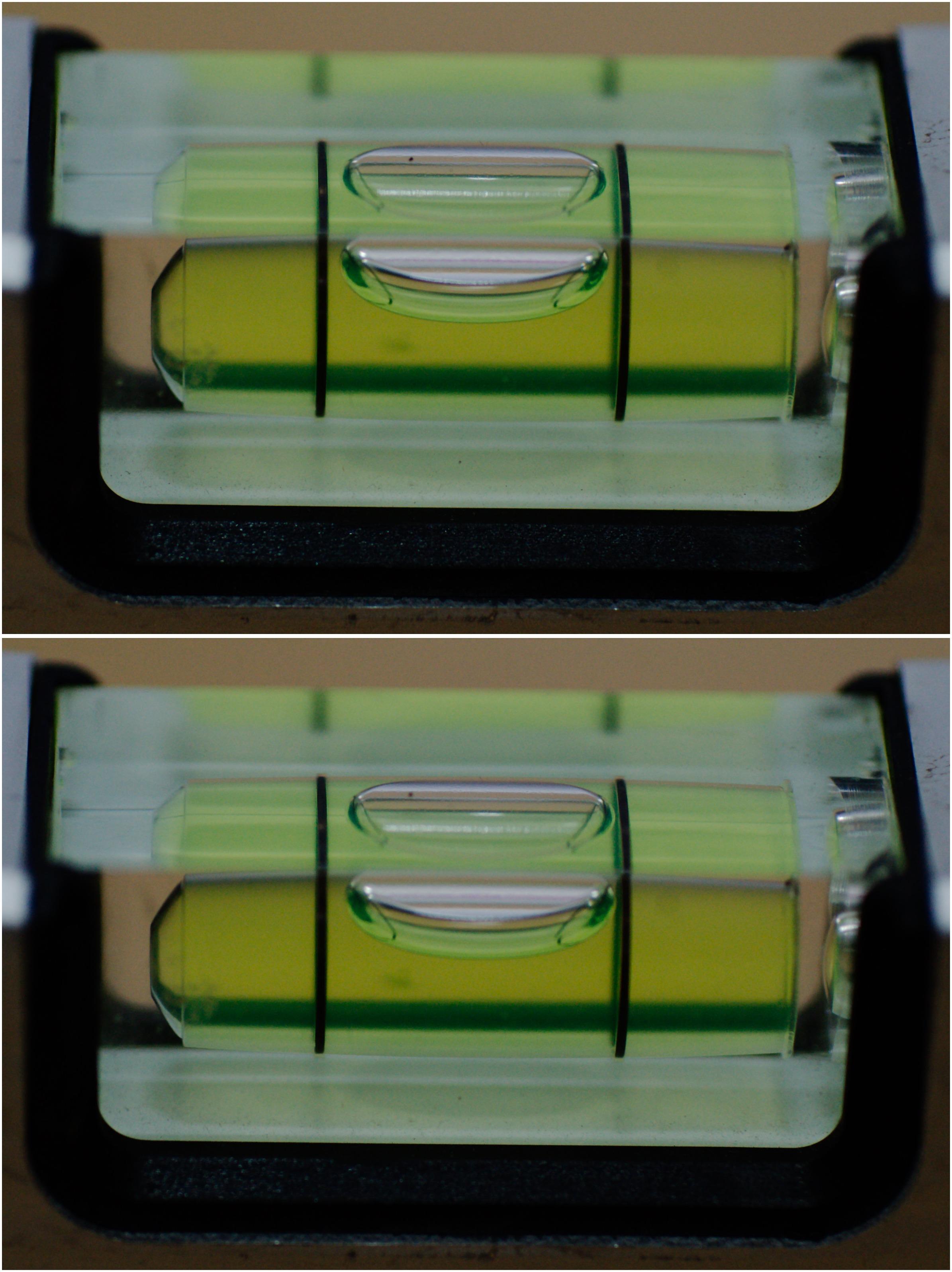 Änderung der Libelle einer Wasserwage, die um einseitig 1 mm angehoben wird