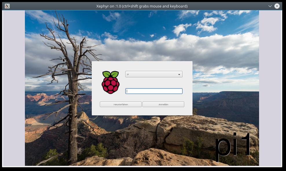 Paspberry Pi Anmeldebildschirm